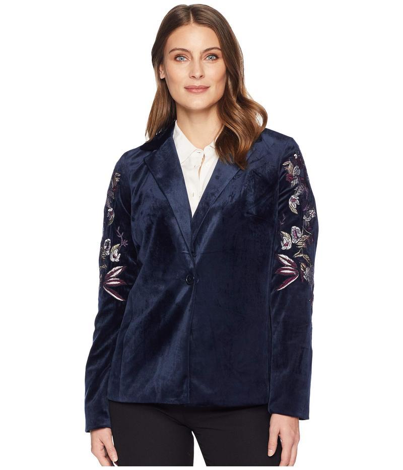 トリバル レディース コート アウター Long Sleeve Embroidered Blazer Midnight