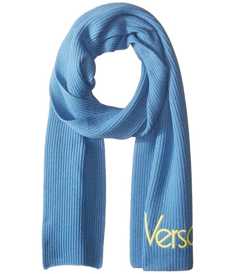 ヴェルサーチ メンズ マフラー・ストール・スカーフ アクセサリー Vintage Versace Logo Scarf Ice Blue/Yellow