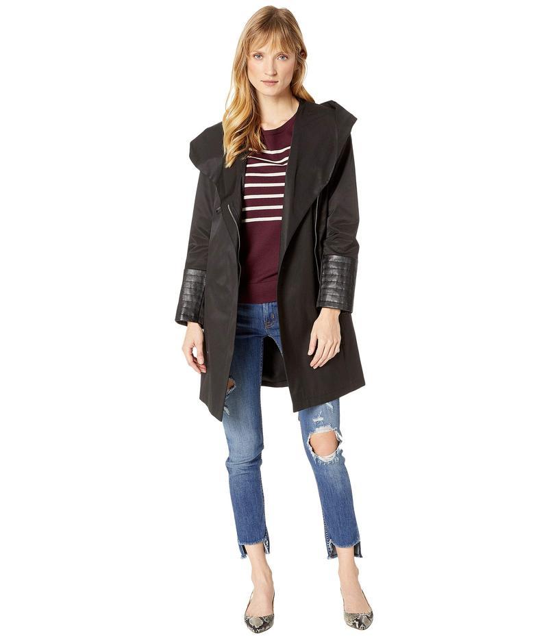 ヴィアスピガ レディース コート アウター Oversized Hooded Shawl Collar Woven Lightweight Raincoat with Faux Leather Detail Black