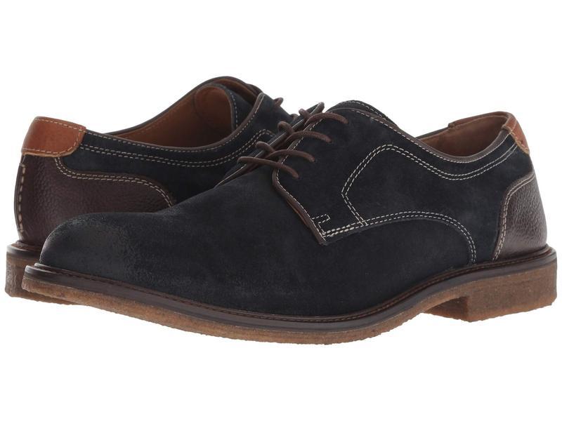 ジョンストンアンドマーフィー メンズ オックスフォード シューズ Copeland Plain Toe Navy Water-Resistant Oiled Suede