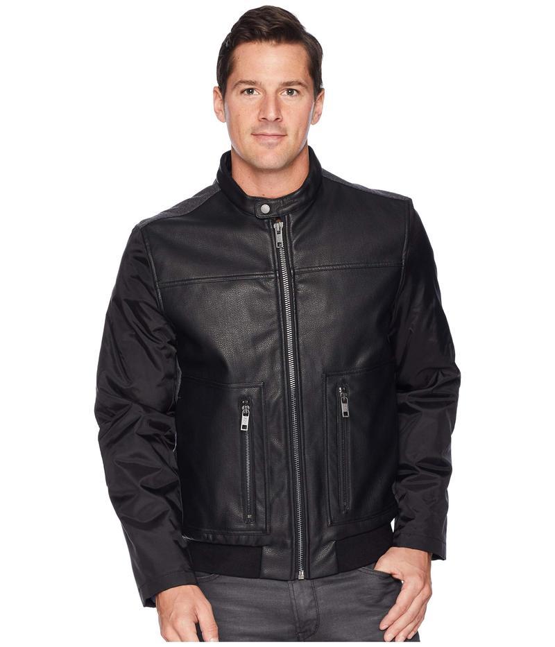 マークニューヨーク メンズ コート アウター PU Front/Wool Back/Oxford Sleeves Bomber Black