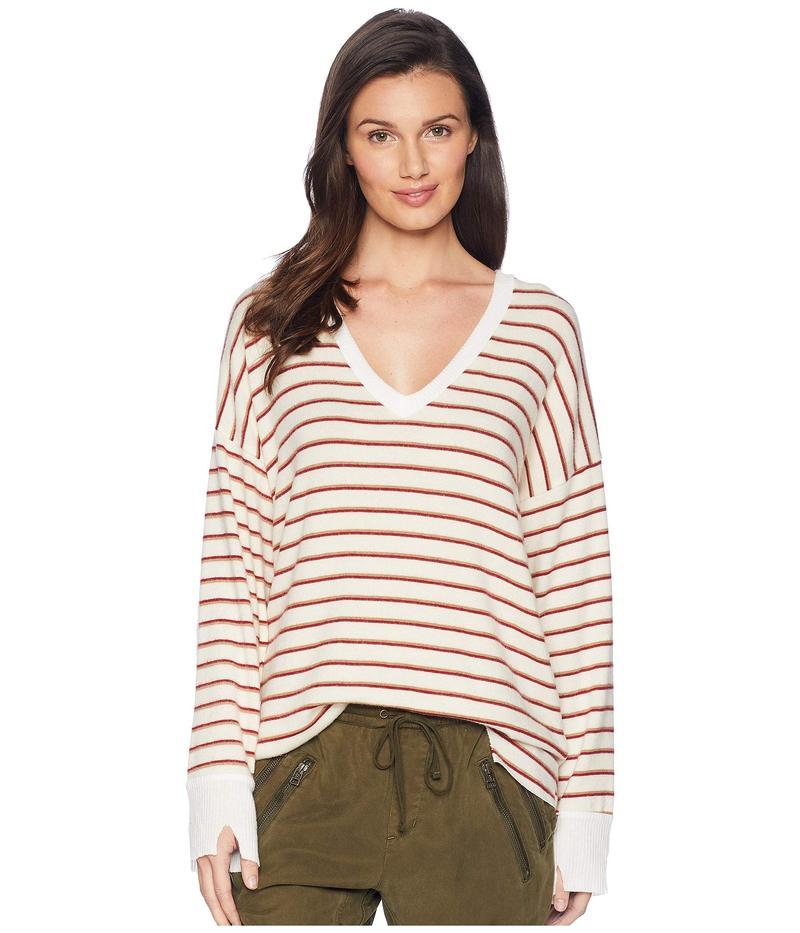 エルエヌエー レディース ニット・セーター アウター Brushed Bitten Sweater Ivory/Red Stripe