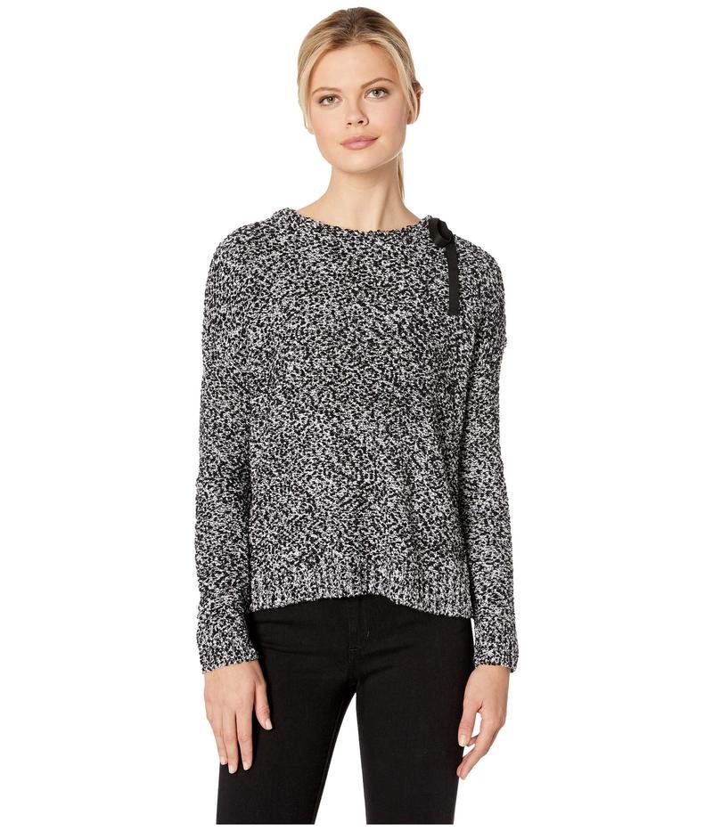 リラピー レディース ニット・セーター アウター Tie Neck Pullover Pompom Yarn Sweater Black Pebble