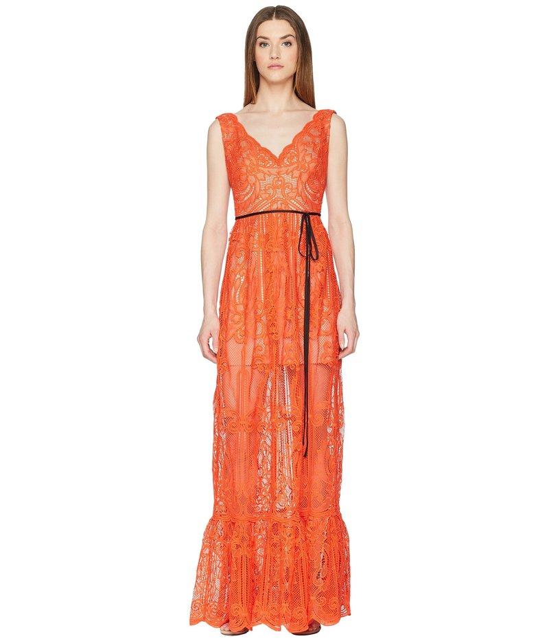 モニーク ルイリエ レディース ワンピース トップス Lace Overlay Sleeveless Maxi Dress Persimmon