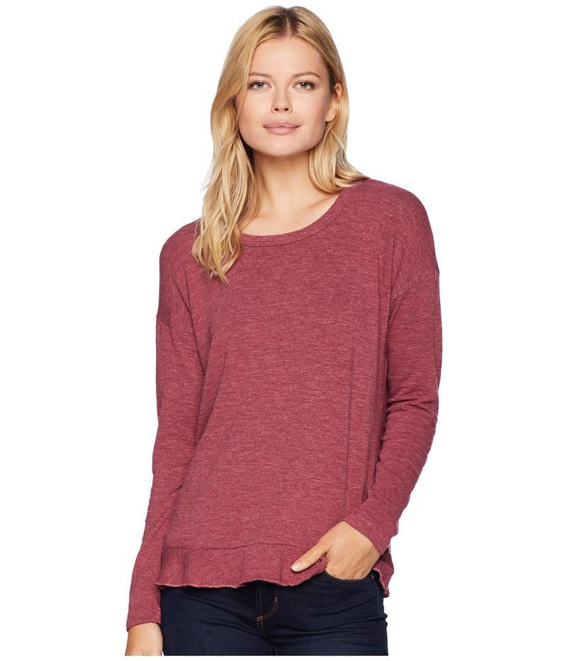 モッドドック レディース ニット・セーター アウター Slubbed Sweater Knit Drop Shloulder Crossover Back Pullover Cranberry