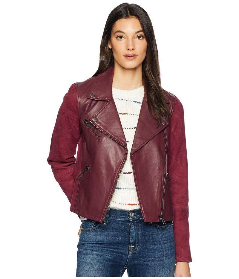 マイケルスターズ レディース コート アウター Leather Suede Mix Classic Moto Jacket Pinot
