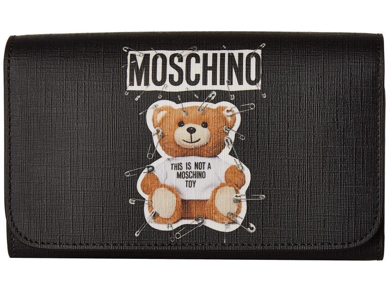 モスキーノ レディース ハンドバッグ バッグ Eco-Leather Teddy Wallet on a Chain Black Eco-Leather