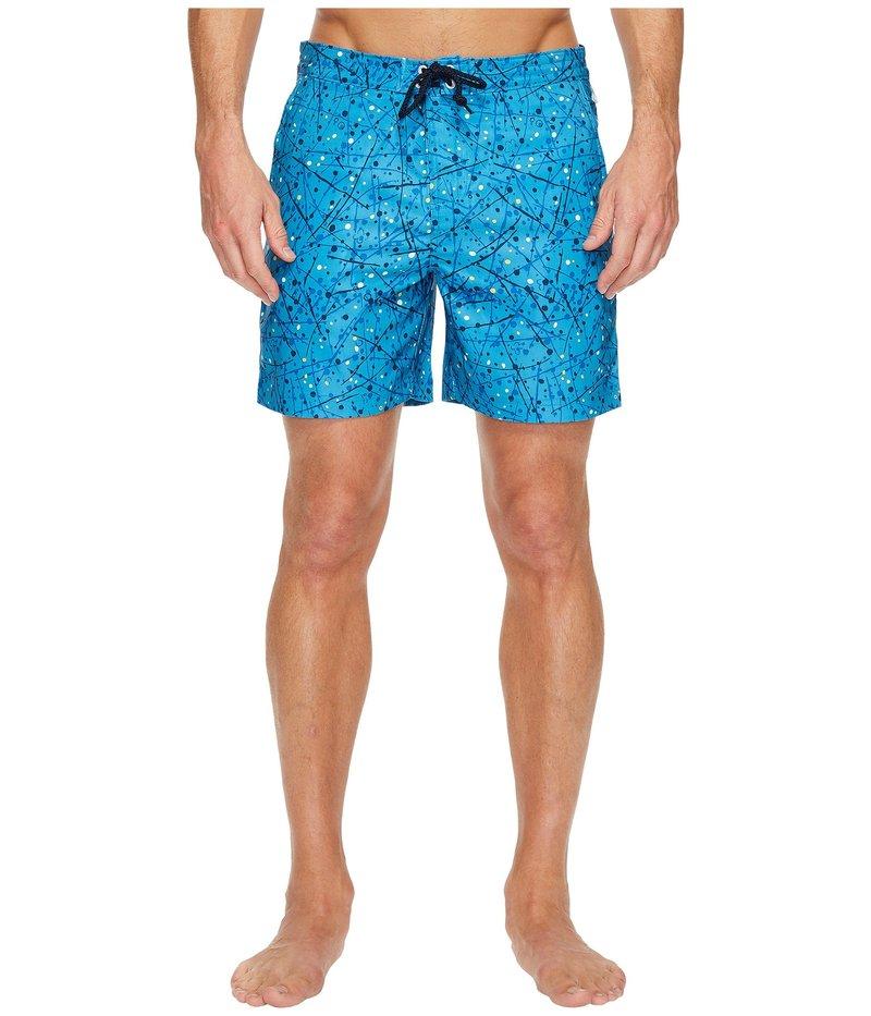 オリジナルペンギン メンズ ハーフパンツ・ショーツ 水着 Splatter Paint Fixed Swim Short Snorkel Blue