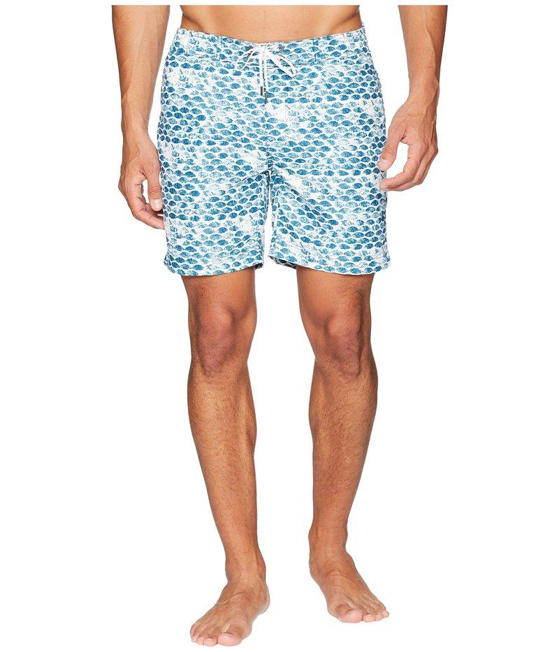 オニア メンズ ハーフパンツ・ショーツ 水着 Alek 7 Shell Stamp Swim Trunk Lyons Blue/White
