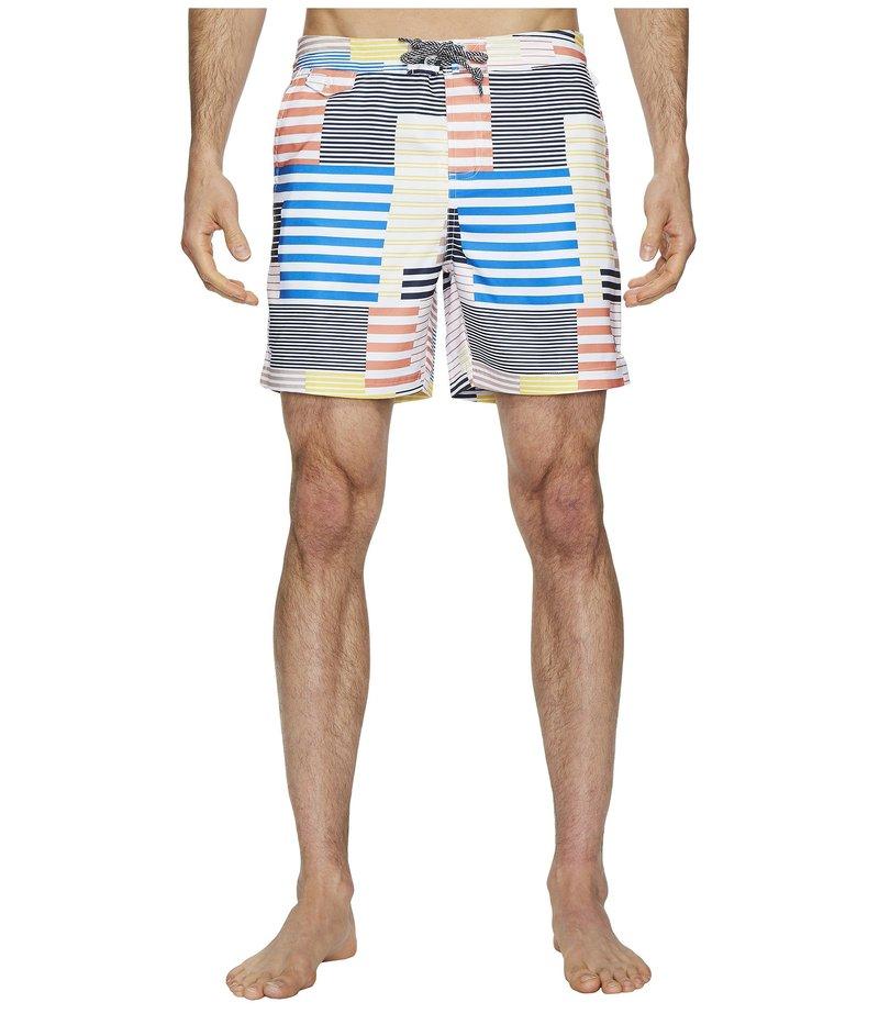 オリジナルペンギン メンズ ハーフパンツ・ショーツ 水着 8-Bit Stripe Fixed Volley Stretch Swim Shorts Blue Depths