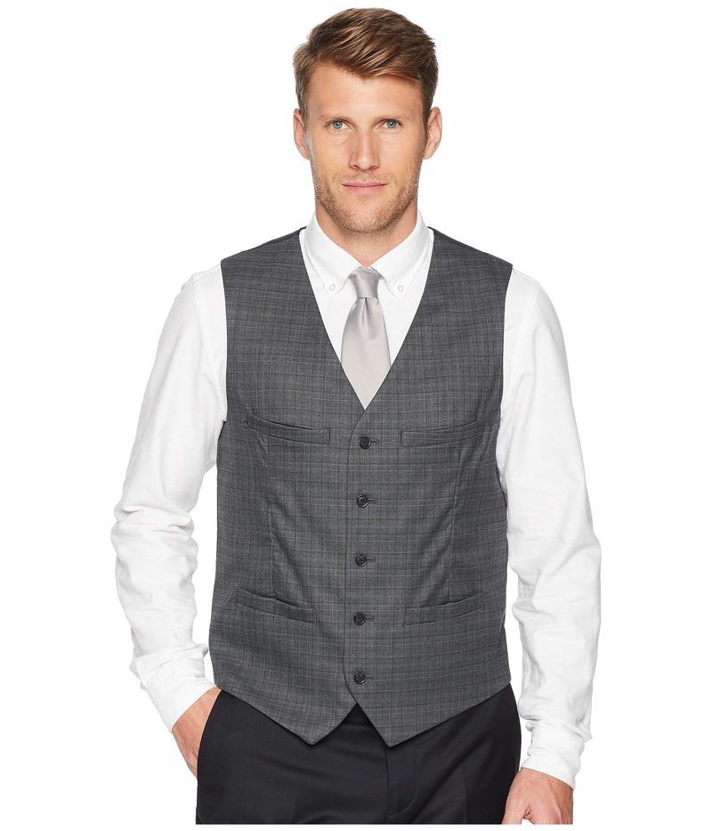 ペリーエリス メンズ コート アウター Slim Fit Washable Plaid Suit Vest Charcoal Heather