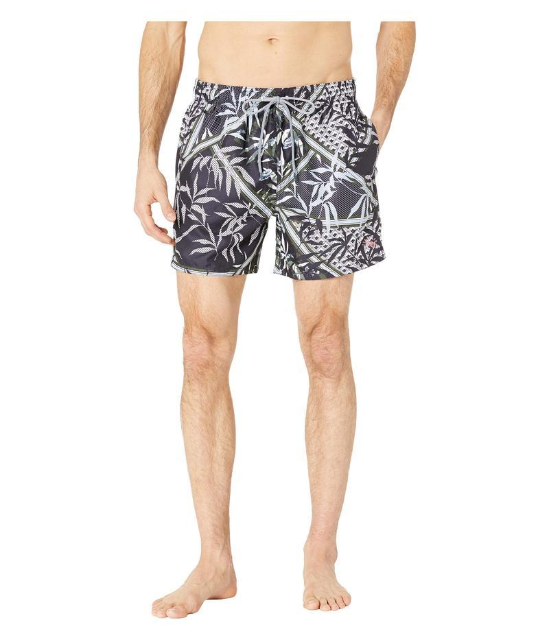 テッドベーカー メンズ ハーフパンツ・ショーツ 水着 Plecoe Floral Mashup Print Swim Shorts Navy
