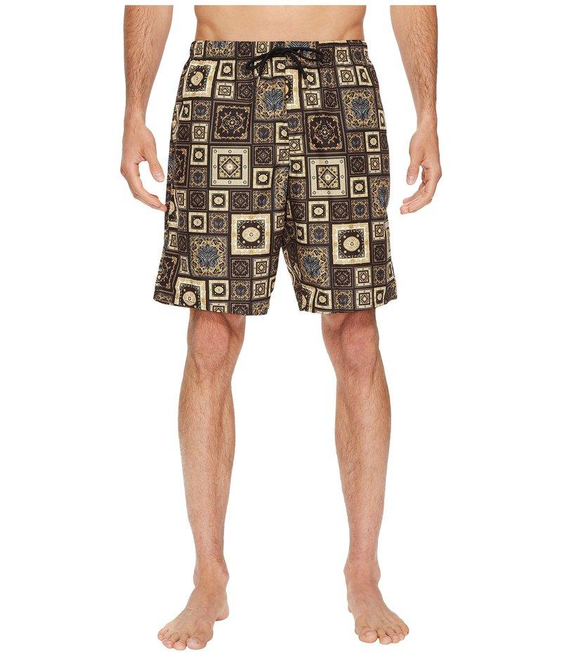 ヴェルサーチ メンズ ハーフパンツ・ショーツ 水着 Printed Beach Long Shorts Black/Gold