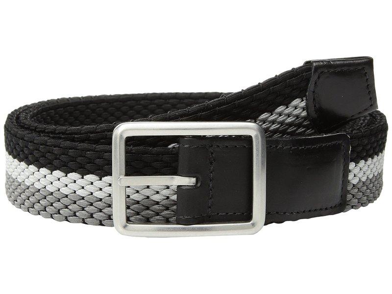 トリーノレザー メンズ ベルト アクセサリー 35mm Italian Woven Tri-Stripe Reversible Elastic Grey/Nickle/Black