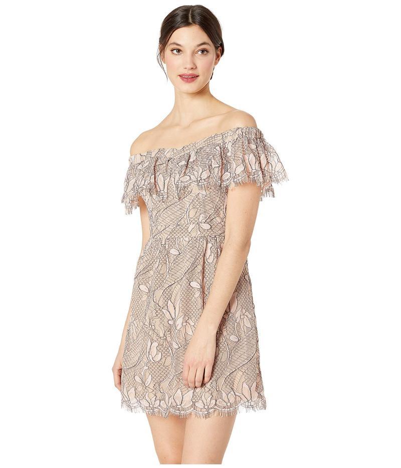 ワイフ レディース ワンピース トップス Terrace Scallop Lace Mini Dress Blush Black Lace