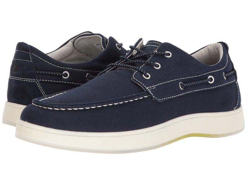 フローシャイム メンズ デッキシューズ シューズ Edge Moc Toe Boat Shoe Navy Canvas/Navy Nubuck