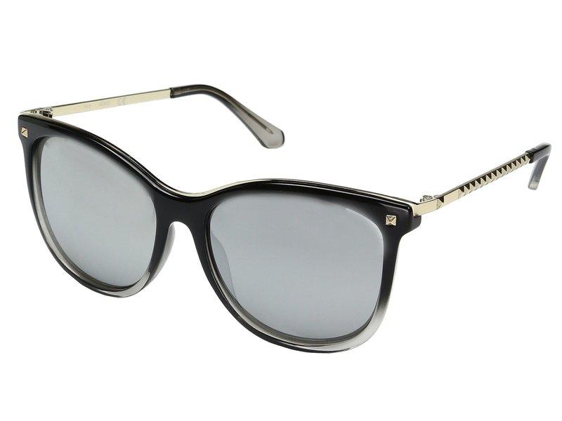ゲス レディース サングラス・アイウェア アクセサリー GF0302 Shiny Black to Crystal Grey/Smoke Mirror Lens