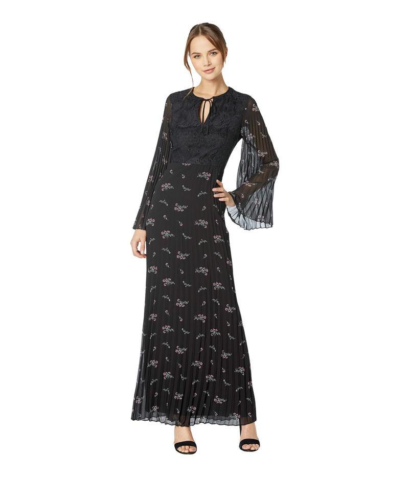 ジューシークチュール レディース ワンピース トップス Pleated Maxi Dress with Lace Bodice Pitch Black/Falling Blooms