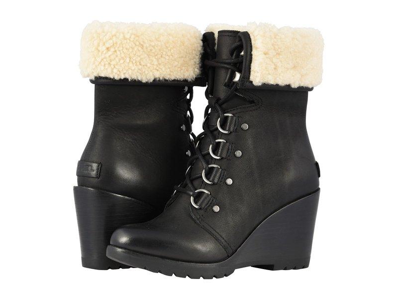 ソレル レディース ブーツ・レインブーツ シューズ After Hours Lace Shearling Black Full Grain Leather