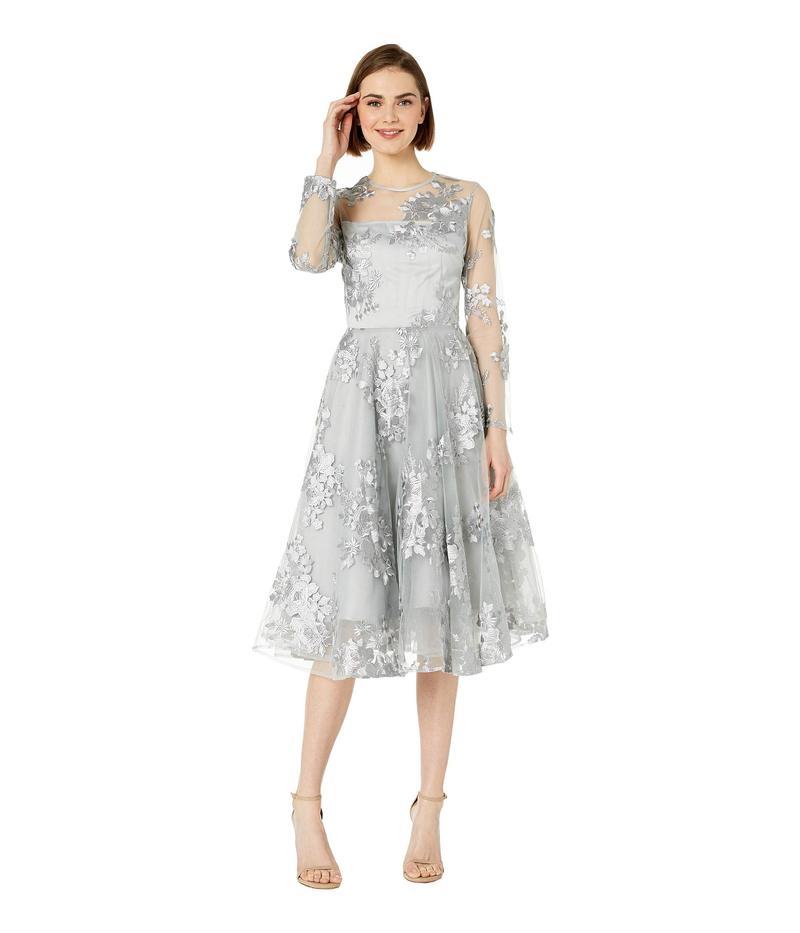 ベベ レディース ワンピース トップス Circle Embroidered Mesh Dress Grey
