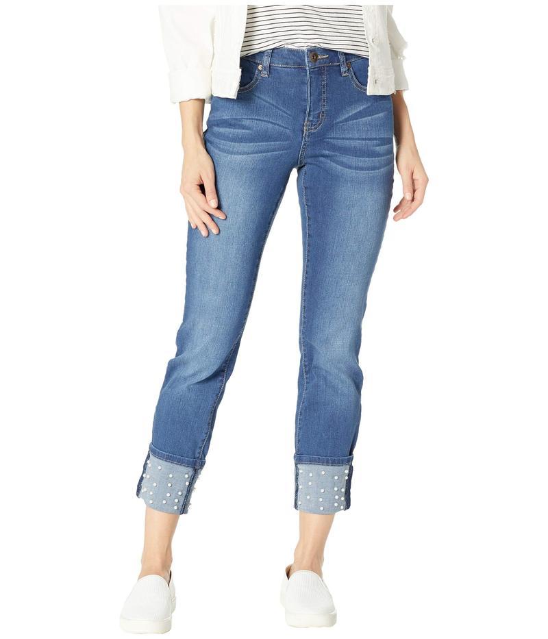 トリバル レディース デニムパンツ ボトムス Five-Pocket Skinny Jeans with Pearl Beads in Medium Wash Medium Wash