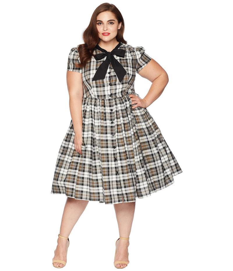 ユニークビンテージ レディース ワンピース トップス Plus Size 1950s Style Button Up Swing Dress Grey Plaid