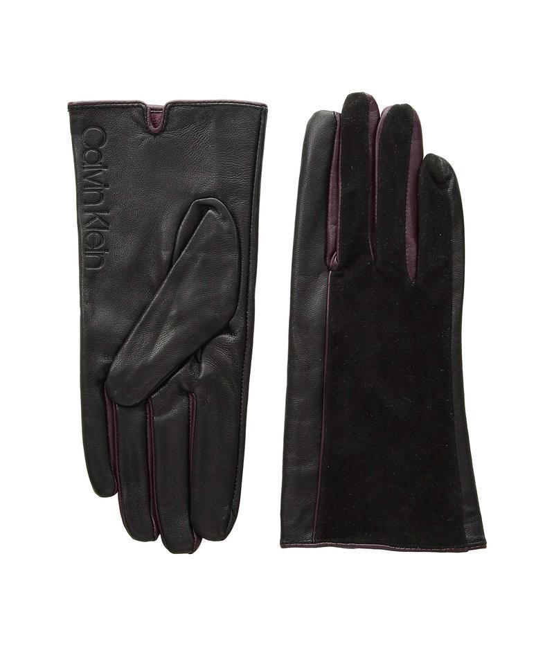カルバンクライン レディース 手袋 アクセサリー Leather/Suede Gloves w/ Pop Color Fourchettes Black