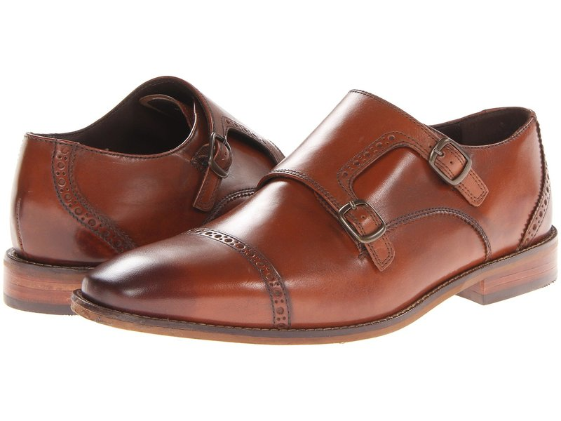 フローシャイム メンズ オックスフォード シューズ Castellano Monk Strap Oxford Saddle Tan
