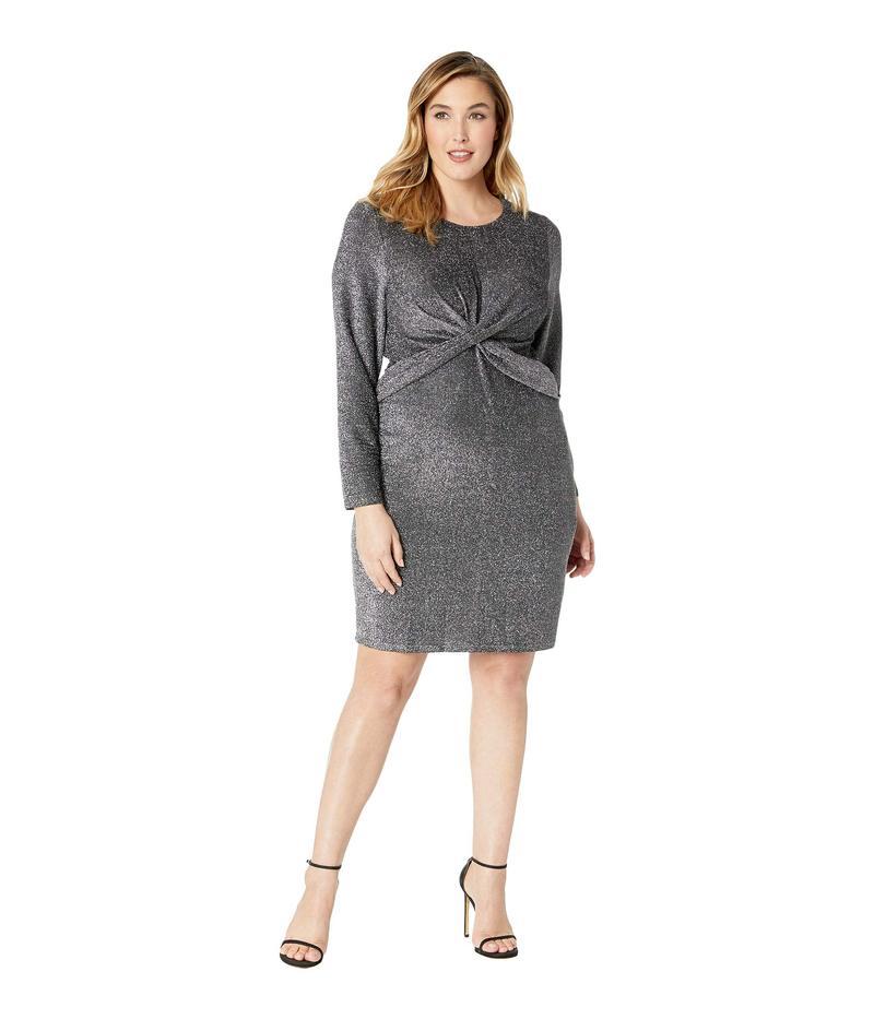 マイケルコース レディース ワンピース トップス Plus Size Twist Waist Long Sleeve Dress Black/Silver