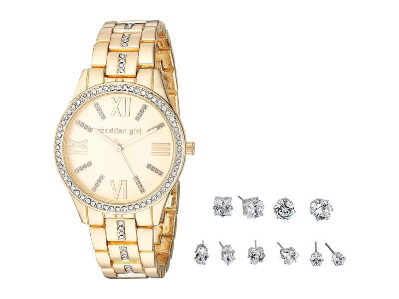 スティーブ マデン レディース 腕時計 アクセサリー Madden Girl Stone Bracelet Watch and Stud Earrings Set SMGS021 Gold