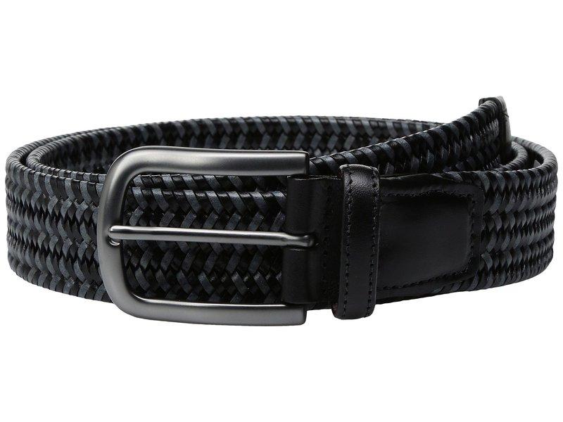 トリーノレザー メンズ ベルト アクセサリー 35mm Italian Mini Strand Woven Stretch Leather Black/Grey