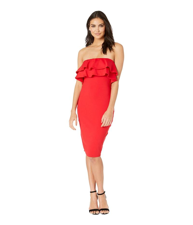 スサナモナコ レディース ワンピース トップス Strapless Double Ruffle Dress Perfect Red