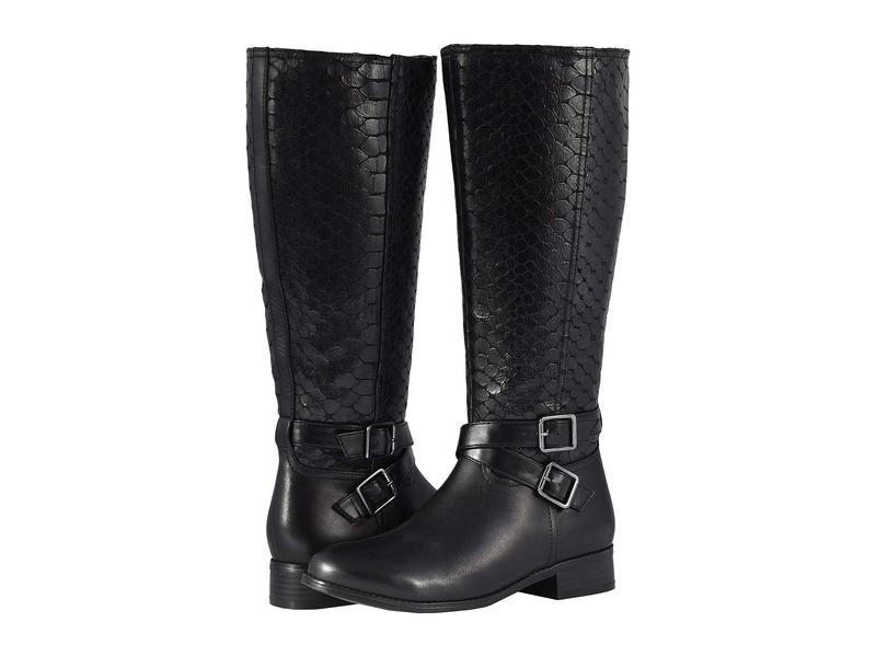 トロッターズ レディース ブーツ・レインブーツ シューズ Liberty Wide Calf Black Burnished Leather/Embossed Anaconda