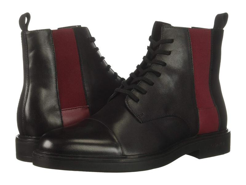 カルバンクライン メンズ ブーツ・レインブーツ シューズ Dameon Black/Red Rock Nappa Calf Leather