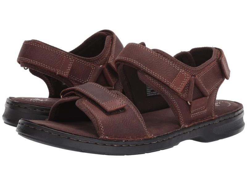 クラークス メンズ サンダル シューズ Malone Shore Dark Brown Tumbled Leather
