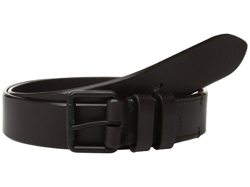 コールハーン メンズ ベルト アクセサリー 35 mm. Smooth Leather Bevel Edge w/ Double Loop Java/Matte Black