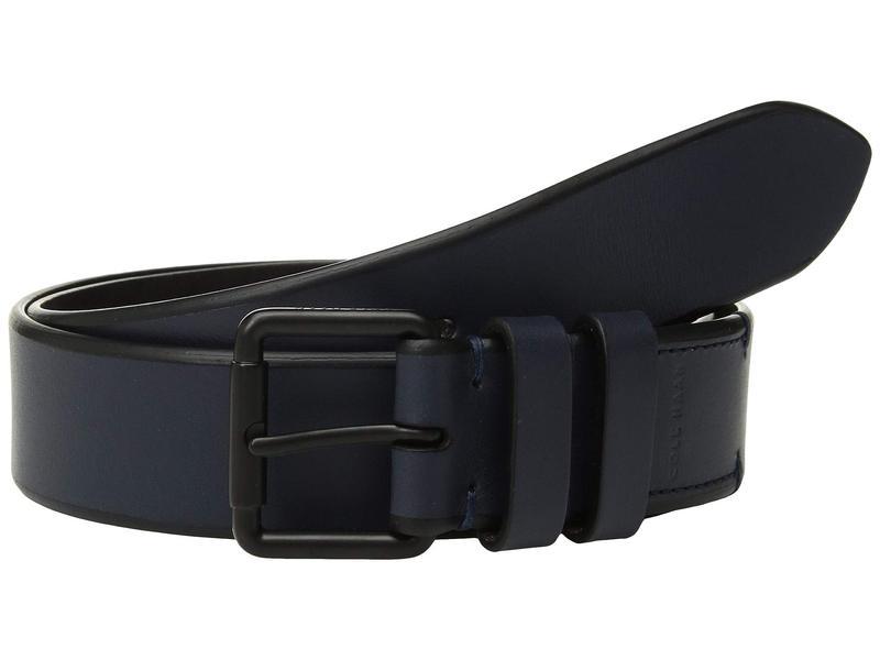 コールハーン メンズ ベルト アクセサリー 35 mm. Smooth Leather Bevel Edge w/ Double Loop Navy/Matte Black