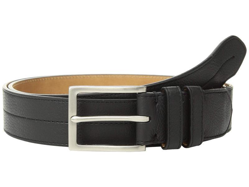 コールハーン メンズ ベルト アクセサリー 35 mm. Pebble Leather Belt w/ Center Stitch Black/Tumbled Nicke