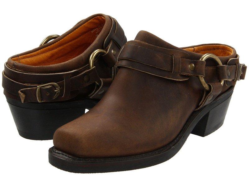 フライ レディース ブーツ・レインブーツ シューズ Belted Harness Mule Tan Crazy Horse Leather