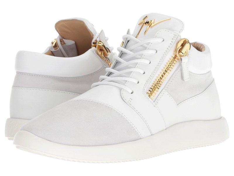 ジュゼッペザノッティ メンズ スニーカー シューズ Singles Cupsole Nappa/Suede Mid Top Sneaker White