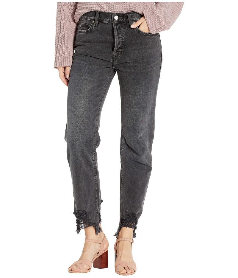 フリーピープル レディース デニムパンツ ボトムス Chewed Up Mid-Rise Straight Jeans Black