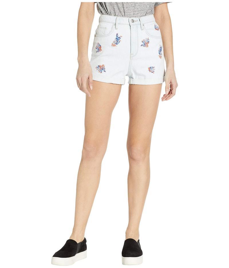 ジューシークチュール レディース ハーフパンツ・ショーツ ボトムス Denim Wildflower Embroidered Roll Cuff Shorts Sunbleached Wash