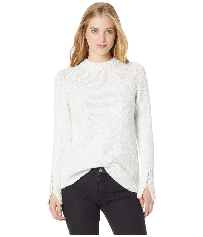 ケンジー レディース ニット・セーター アウター Variegated Cotton Blend Sweater w/ Pearls KSNK5872 Ivory Cloud