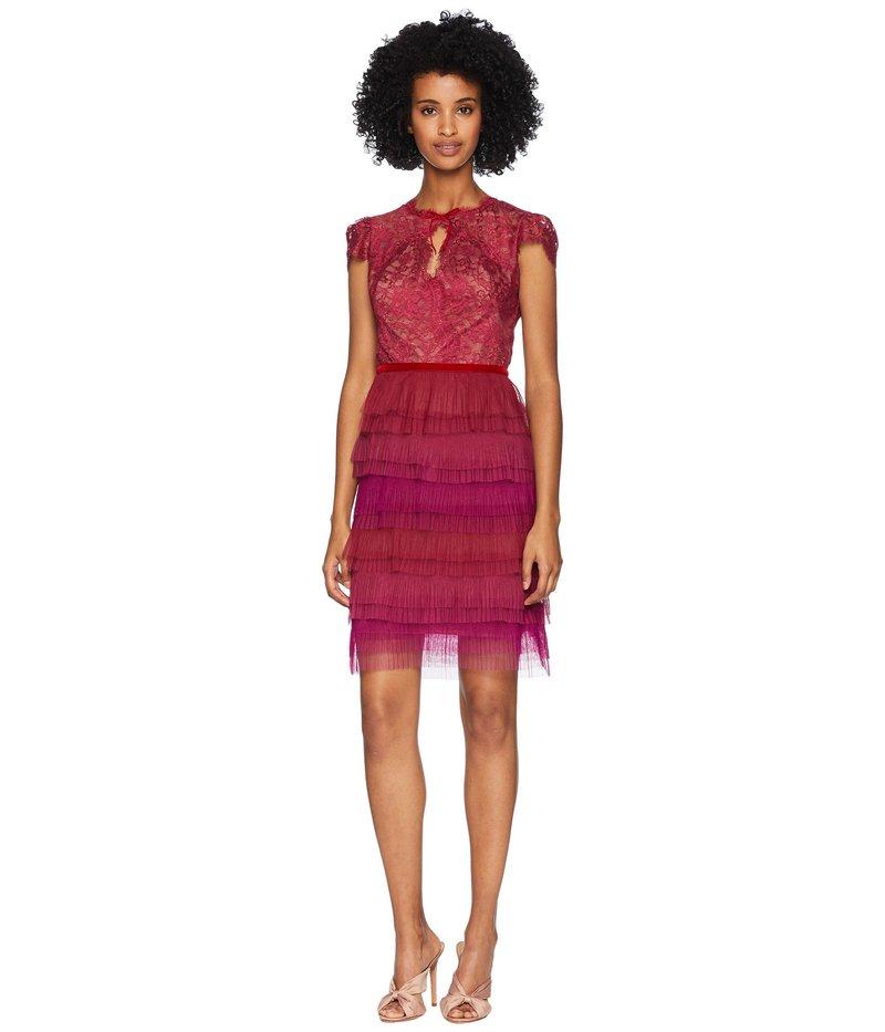 マルケサノット レディース ワンピース トップス Cap Sleeve Cocktail with Lace Bodice and Tulle Ruffle Skirt Tiers Red