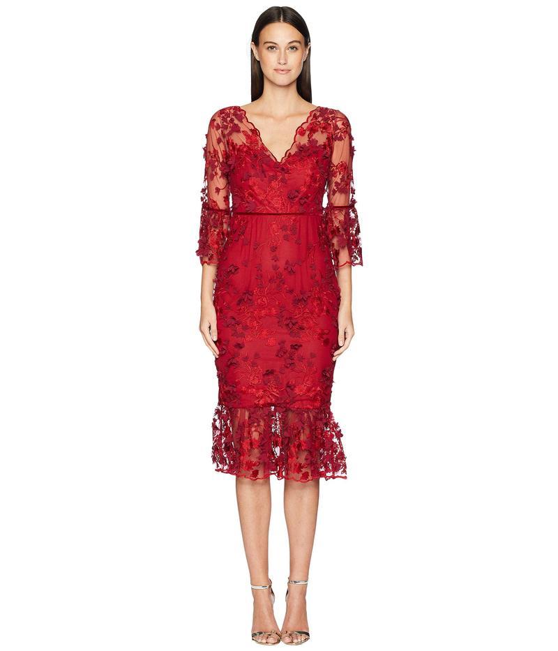 マルケサノット レディース ワンピース トップス 3/4 Sleeve Embroidered 3D Floral Dress Red