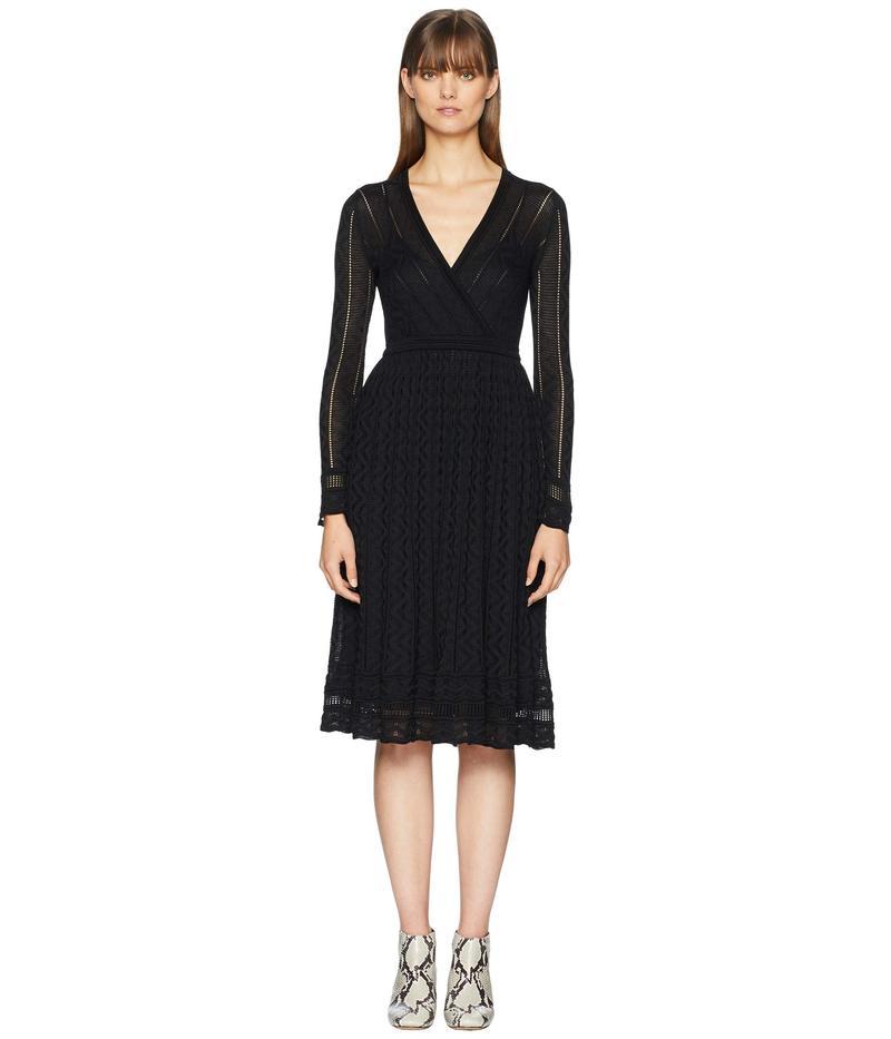 エム ミッソーニ レディース ワンピース トップス Solid Knit Surplice Long Sleeve Dress Black