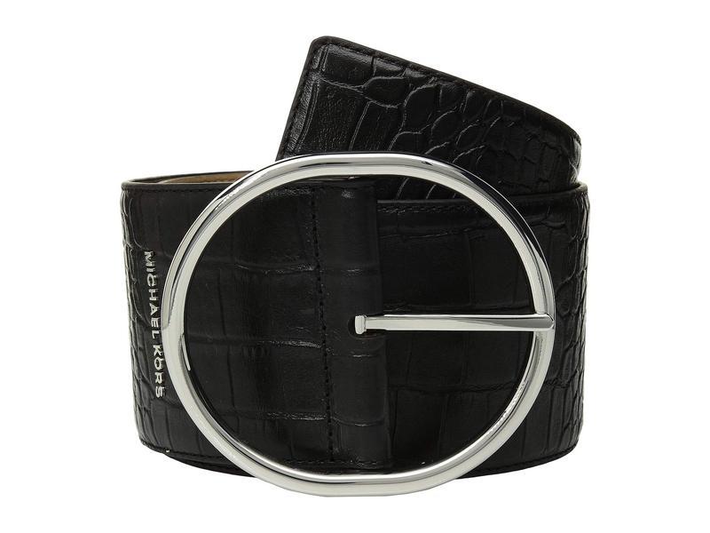 マイケルコース レディース ベルト アクセサリー 85 mm (3.3) Oversized Croc Belt Black/Polished Nickel