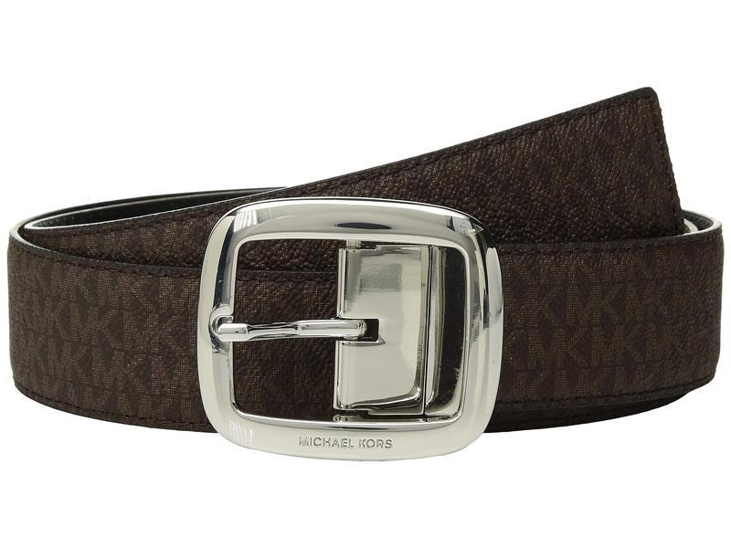 マイケルコース レディース ベルト アクセサリー 38 mm (1.5) Reversible Logo Belt Chocolate/Black/Polished Nickel