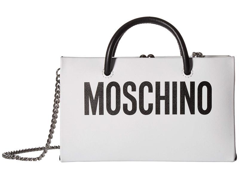 モスキーノ レディース ハンドバッグ バッグ Logo Evening Clutch with Chain White Leather