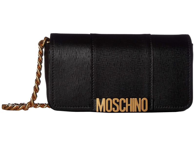 モスキーノ レディース ハンドバッグ バッグ Medium Logo Saffiano Crossbody Black Saffiano